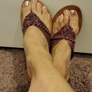Purple flip flop sandals